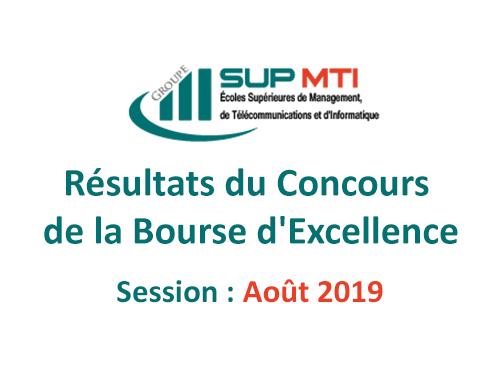 Résultats du concours de la Bourse d'excellence, Session du Août 2019