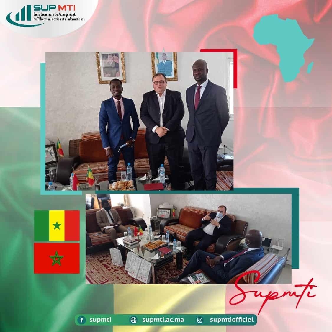 Le Groupe SUPMTI RABAT, représenté par Son président Dr. Abderrahmane Kriouile en partenariat officiel avec Ts Groupe représenté par MTijani, a été reçu par son Excellence l'ambassadeur du Sénégal au Maroc S.E Ibrahima Al Khalil Seck